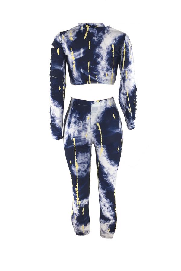 Stylish Round Neck Printed White Milk Fiber Two-piece Pants Set