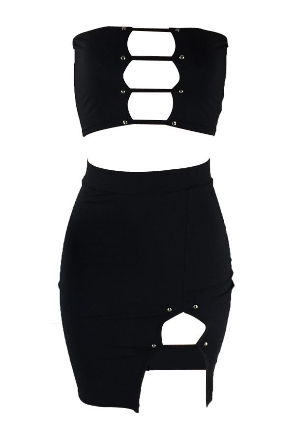 Sexy Dew Shoulder Zipper Design Black Cotton Two-piece Skirt Set