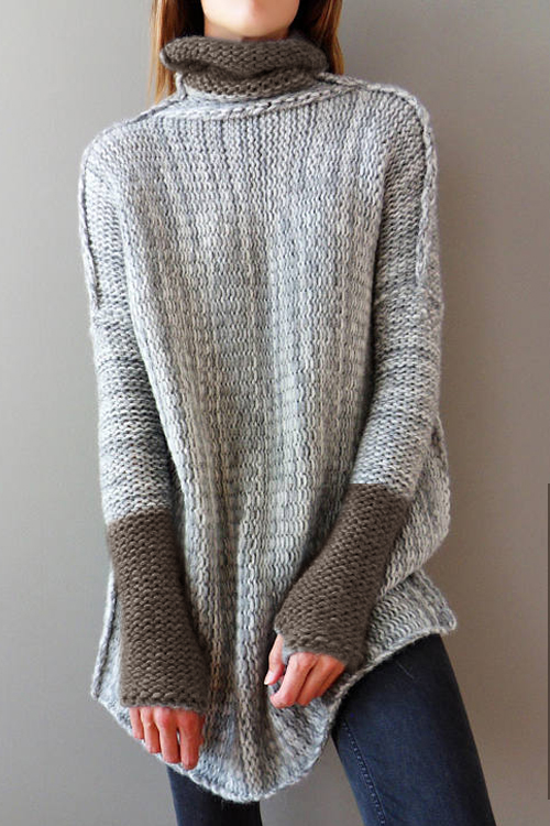 Lovely Trendy Turtleneck Long Sleeves Patchwork Grey Acrylic Sweaters