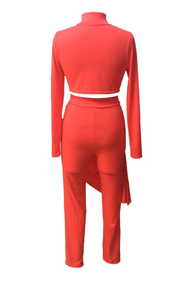 Euramerican Round Neck Asymmetrical Red Milk Fiber Two-piece Pants Set