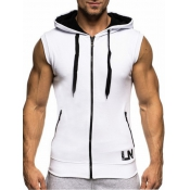 Leisure Hooded collar Patchwork White Cotton Waist