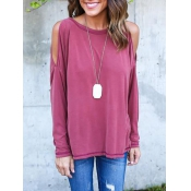 Leisure Round Neck Long Sleeve Hollow-out Rose Red