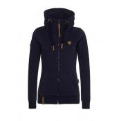 Casual V Neck Long Sleeves Zipper Design Dark Blue Cotton Hoodies Coat