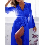 Sexy V Neck Gauze Splicing Blue Lace Night-robe