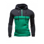Leisure Long Sleeves Patchwork Green Cotton Hoodie
