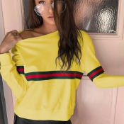 Leisure Round Neck Patchwork Yellow Polyester Pullovers