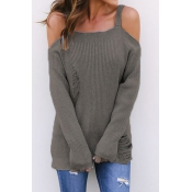 Off The Shoulder Broken Holes Sweaters