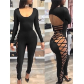 Sexy Round Neck Hollow-out Black Milk Fiber One-piece Skinny Jumpsuits