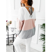 Leisure Round Neck Patchwork Pink Cotton Blends To