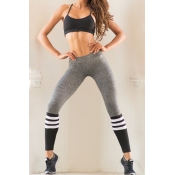 Lovely Talk About It Grey Striped Leggings