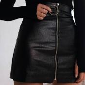 Trendy High Waist Zipper Design Black Leather Mini