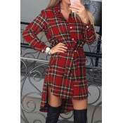 That Be High Low Plaid Shirt Dress(Non Positioning