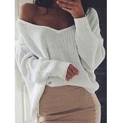 Trendy V Neck Long Sleeves Asymmetrical White Cott