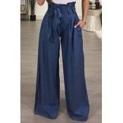 Stylish High Waist Drawstring Ligh Blue Cotton Pan