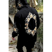 Leisure Hooded collar Long Sleeves Printed Black C