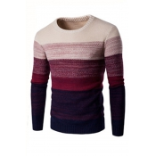 Euramerican Round Neck Patchwork Wine Red Acrylic