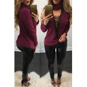 Sexy Deep V Neck Hollow-out Wine Red Knitting Swea