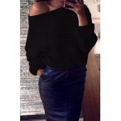 Euramerican Round Neck Long Sleeves Black Acrylic