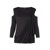 Sexy Dew Shoulder Long Sleeves Hollow-out Black Co