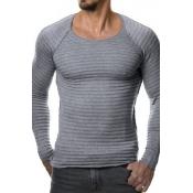 Euramerican Round Neck Long Sleeves Light Grey Acr