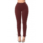Stylish High Waist Lace-up Hollow-out Wine Red Den