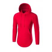 Euramerican Long Sleeves Red Cotton Blends Hoodie