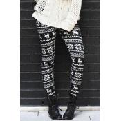 Euramerican Printed Black Polyester Leggings