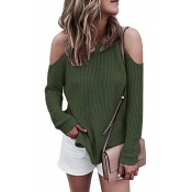 Leisure Round Neck Hollow-out Green Cotton Blends