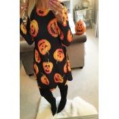 Halloween Long Sleeves Pumpkin printing Casual Dre