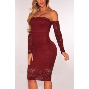 Sexy Dew Shoulder Lace Patchwork Red Sheath Knee Length Dress