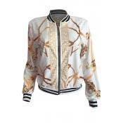 Euramerican Round Neck Printed White Polyester Jacket