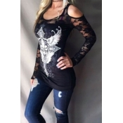 Stylish U-shaped Neck Patchwork Hollow-out Black S