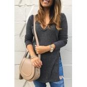 Leisure V Neck Side Split Grey Polyester Sweaters
