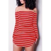 Euramerican Dew Ombro Listrado Vermelho-branco Fibra De Leite Bainha Mini Vestido