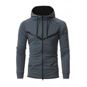 Stylish Long Sleeves Zipper Design Dark Grey Cotto