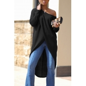 Leisure Dew Shoulder Long Sleeves Asymmetrical Black Cotton Shirts