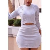 Trendy Round Neck Broken Holes White Cotton Blends Two-piece Skirt Set