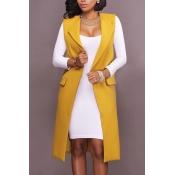 Fashion Turndown Collar Pocket Design Yellow Polye
