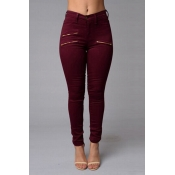 Stylish High Waist Zipper Design Wine Red Denim Pa