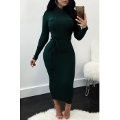 Euramerican Long Sleeves Green Polyester Sheath Mid Calf Dress