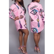 Trendy Turndown Collar Printed Pink Polyester Knee Length Dress