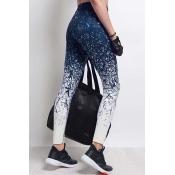 Leisure Elastic Waist Printed Blue Polyester Leggi