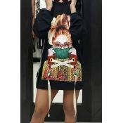 Laço de pescoço redondo com mangas compridas Printed Black Polyester Mini Dress
