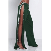Polyester Solid Elastic Waist High Straight Pants