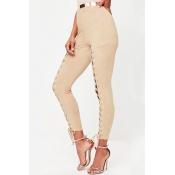 Poliéster sólido cintura elástica alta regular calças P