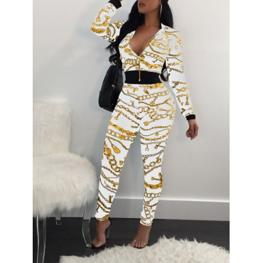 Trendy Long Sleeves Printed Zipper Design White Knitting Two-piece Pants Set