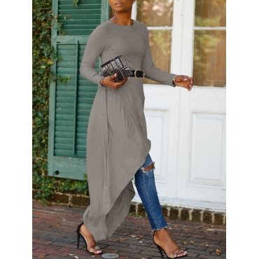 Leisure Round Neck Asymmetrical Grey Cotton Mid Calf Dress(With Belt)
