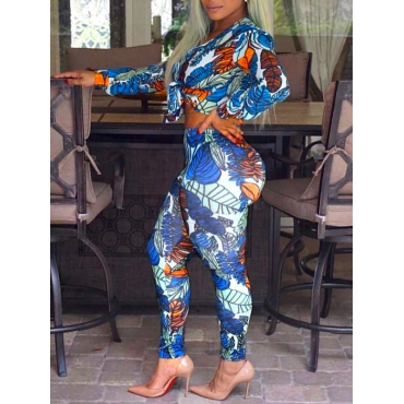 Euramerican V Neck Long Sleeves Printed Blue Milk Fiber Two-piece Pants Set