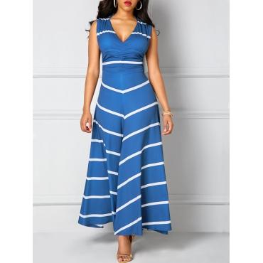 Leisure  V Neck Sleeveless Striped Blue Polyester Ankle Length Dress