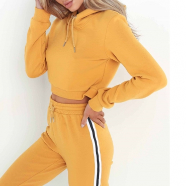 Leisure Hoode Collar Patchwork  Yellow Cotton Two-piece Pants Set